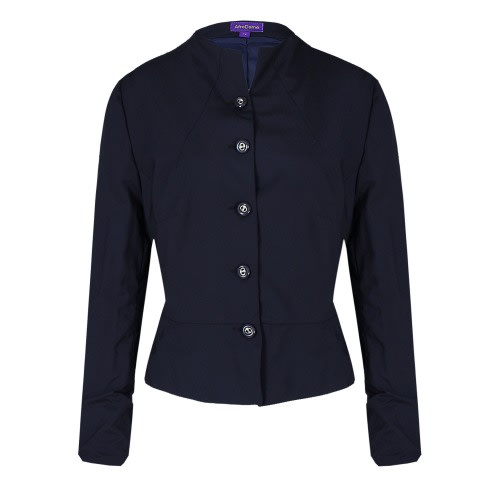 Ladies 5 Buttons Jacket With A Flared Design – Navy Blue – Lj-5097