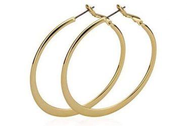 Clear Circle Hoop Charm Earrings