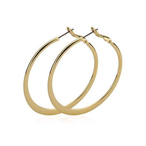 Clear Circle Hoop Charm Earrings