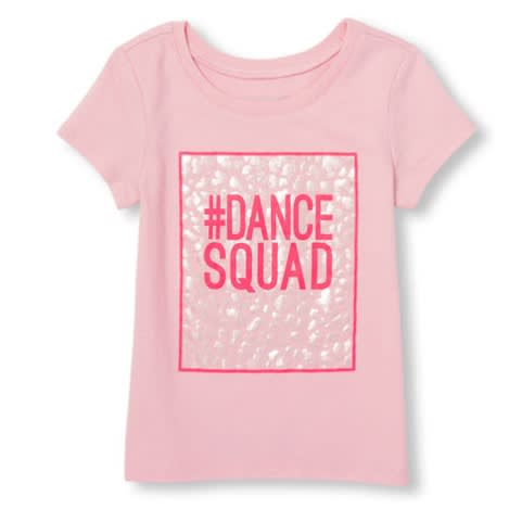The Childrens Place Girls' Short Sleeve Dance Squad Graphic Top – Pink