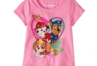 Nickelodeon Girls Paw Patrol Ruffle Hem Short Sleeve Graphic Top- Pink