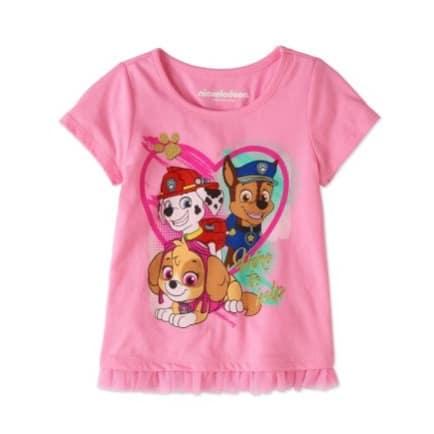 Nickelodeon Girls Paw Patrol Ruffle Hem Short Sleeve Graphic Top- Pink