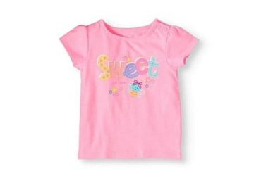 Garanimals Baby Girls' Short-sleeve Sweet Graphic Top – Pink