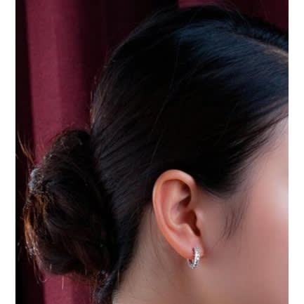 Small Hoop Earrings With Rhinestones – Sterling Silver