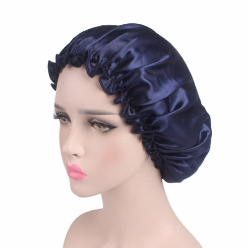 Satin Hair Bonnet For Sleeping – Navy