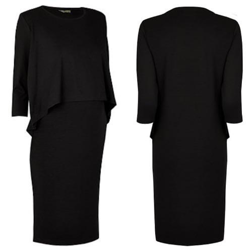 Fashion By LV Layered Maternity & Nursing Black Dress