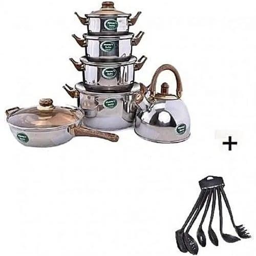 Kitchen Wooden & Non Stick Spoon Set With Onion Chopper