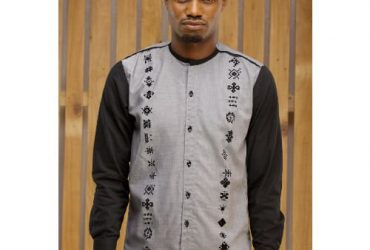Adot Men's Long Sleeve Casual Shirt – Grey & Black