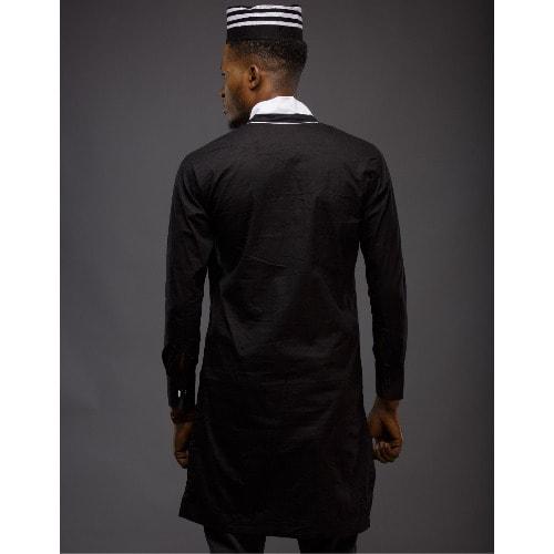 Adot Men's Long Sleeve Casual Shirt – Black & White