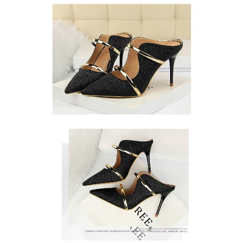 Ladies Heeled Sequin Shoe – Black