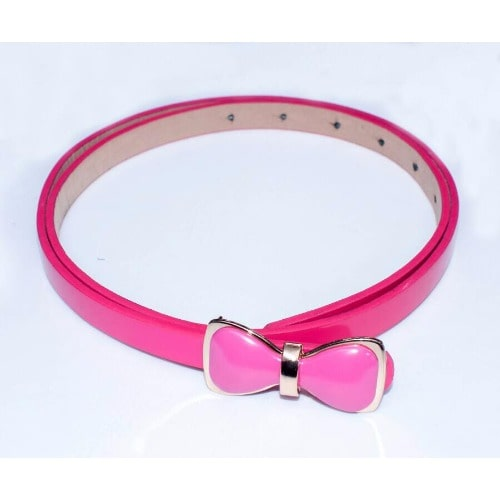 Bow Clip On Leather Belt – Pink