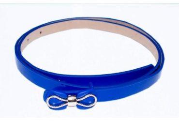 AWW Bow Leather Belt- Blue