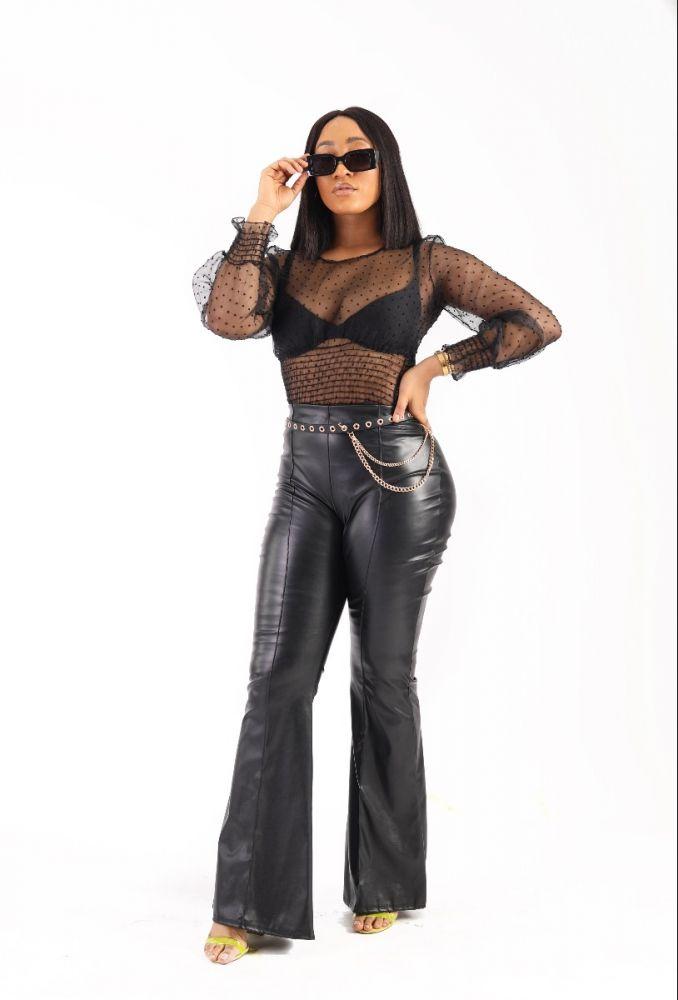 Black Palazzo Leather Pant