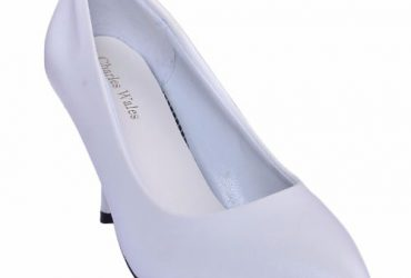 Ladies Leather Mid Heel Court Shoe – White