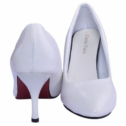 Ladies Leather Mid Heel Court Shoe – White