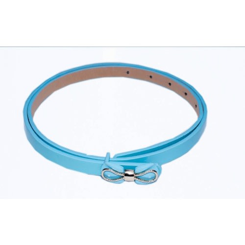 Leather Belt with Bow – Light Blue
