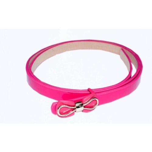 Leather Belt with Bow – Pink
