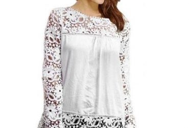 Long Sleeve Hollow Out Lace Chiffon Blouse
