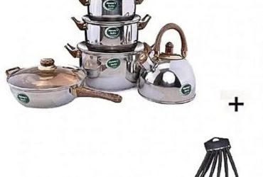Pots, 1 Frying Pan, Kettle And Set Of 6 Non Stick Cooking Spoon