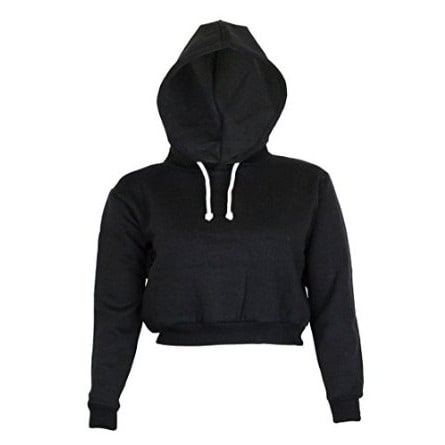 Danami Plain Cropped Hoodie- Black
