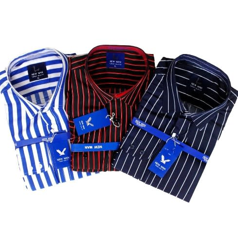 3 In 1 Set Of Quality Stripped Men Long Sleeve Shirt.