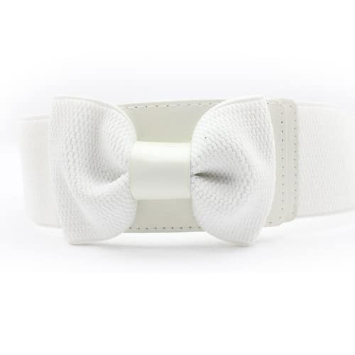 New Women's Girls Graceful Bowknot Elastic Lovely Belt With Buckle Waistband – White  Style: Glamorous & Dramatic  Net Weight: 56g  Length: 66cm; Maximum Length: 100cm ( extruded )  Three Color: Black, Red, Brown  Material: Wide Elastic + Alloy + PU  Bow belt dress up and have a very sweet feeling .  Suitable for any season and never outdate.