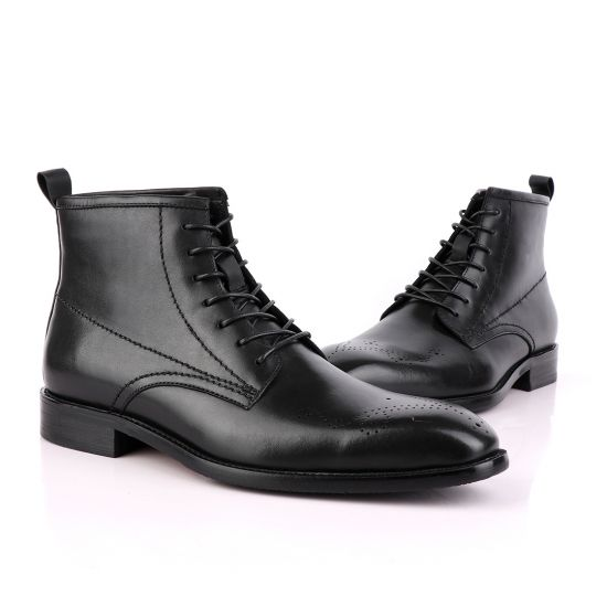 Zara High tops Brogues Lace-up Leather Chelsea Black Boot