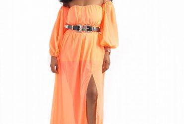 Off Shoulder Maxi Dress With Belt