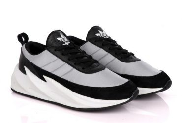 Sharks Styled Men's Fashion Black Grey Sneakers
