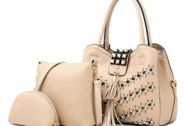 Golden metalic Design 3 in 1 woman Apricot Handbags