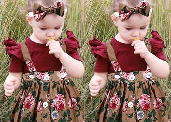Cute Baby Girl (Toddler) Romper, Bow-Tie Headband and Flora Overalls Skirt