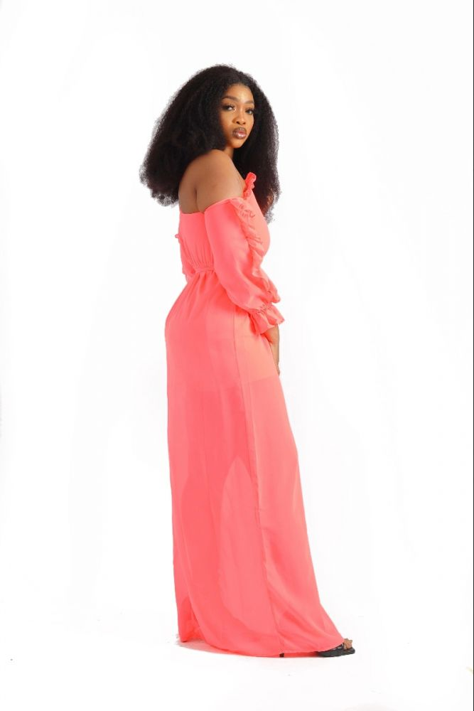 Frill Sleeve Maxi Dress