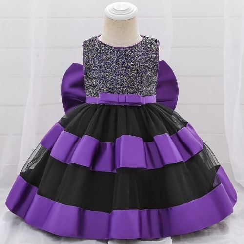Baby Girl's Ball Royalty Party Dress – Purple & Black