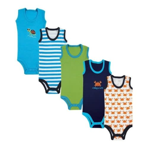 Luvable Friends Baby Boy's Sleeveless Bodysuits – Multicolour – 5 Pack
