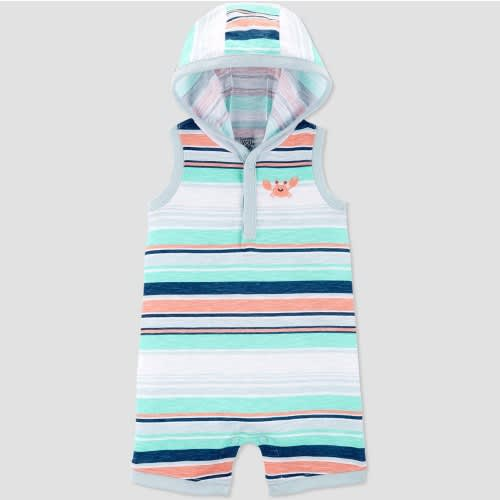 Carter's Baby Boys Crab Embroided Stripe Romper