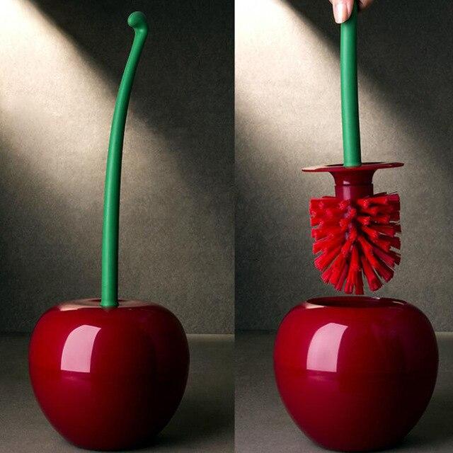 Cute Cherry Shaped Toilet Brush & Holder Set