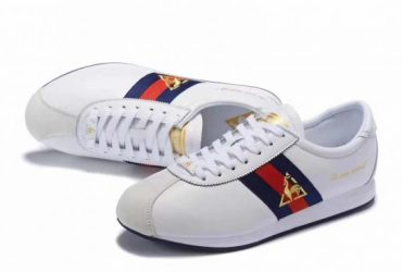 Le Coq Sportif Quartz Premium Men'White Blue and Red Sneakers