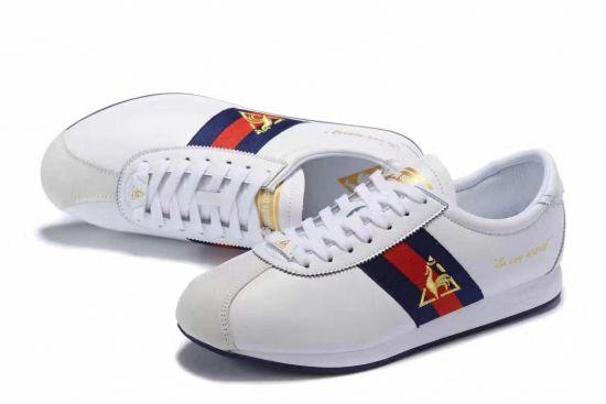 Le Coq Sportif Quartz Premium Men'White Blue and Red Sneakers