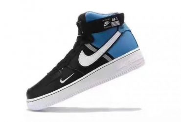 NAF 1 Mid Black and Blue Hightops Sneakers