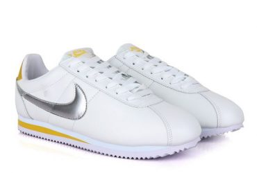 Classic Nk Cortez Prem White and Silver Sneakers