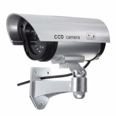 Dummy False CCTV Camera With Flashing LED Light – Silver