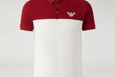 Emporio Armani Chest Logo Wine And White Polo Shirt