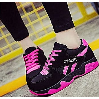 Ladies Fashion Sneakers – Black And Pink