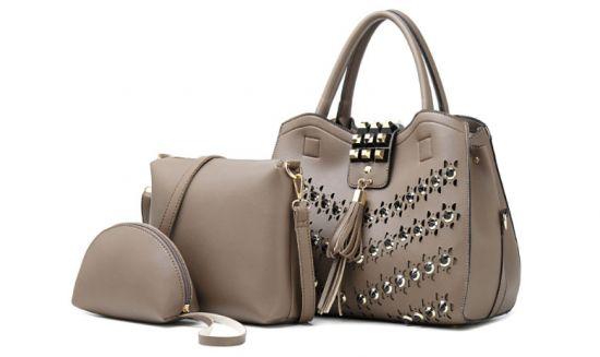Golden metalic Design 3 in 1 woman Apricot Handbags