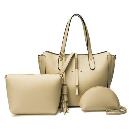 High Quality PU Leather Fashion Elegant Fringe Handbag – Apricot