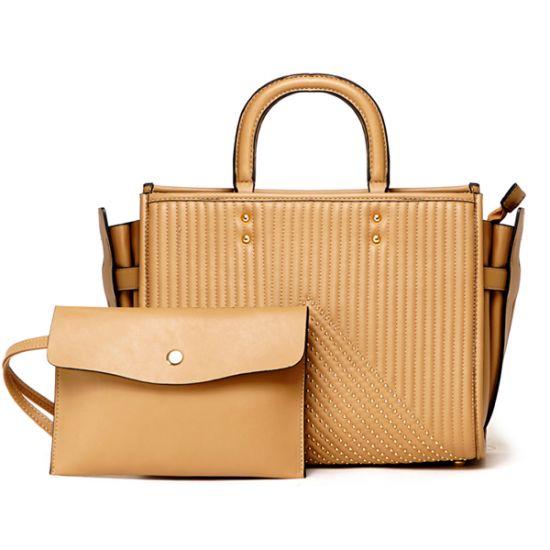 Pelletini 2-in-1 Triangle Stud Genuine Leather Handbag Khaki