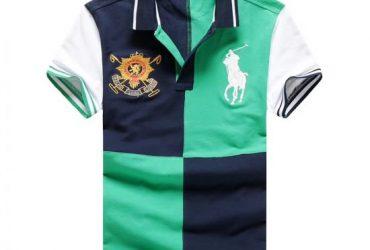 RL Custom Fitted Blockl Strip Green White Navy Shirt