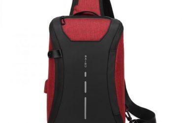 Smart WaterProof Sports Shoulder Bag With USB Port-RED