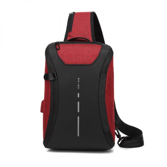 Smart WaterProof Sports Shoulder Bag With USB Port-RED