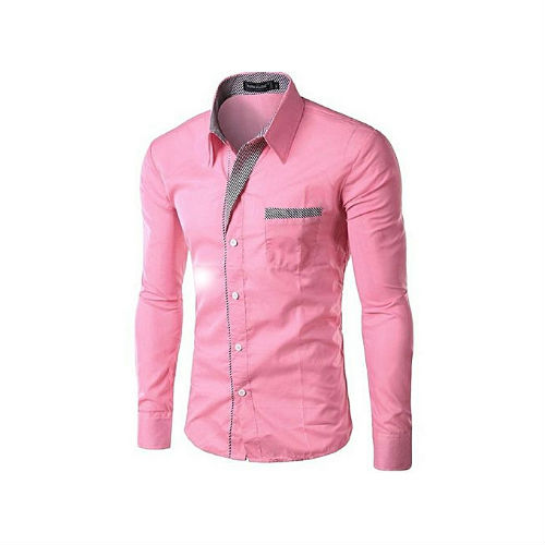 Fashion Men Fashion Long Sleeve Stripe Shirt – Pink
